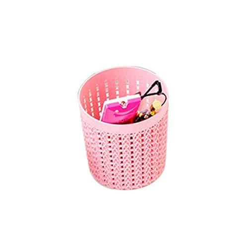 Miklan Creative Plastic Rattan Desktop Storage Basket Cylinder Pen Pencil Pot Holder Organizer Dressing Table Makeup Brush Pink