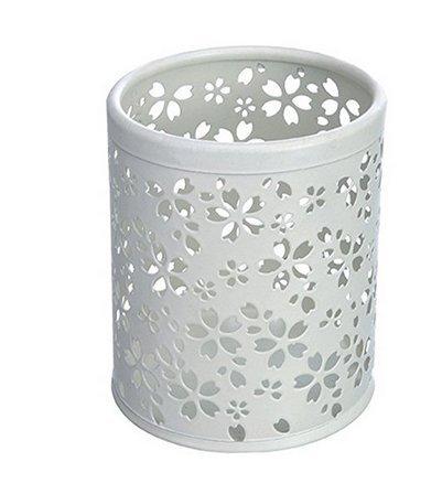RICISUNG Metal Hollow Flower Pattern Pen Case Pencil Pot Holder Organizer Desk Container Case