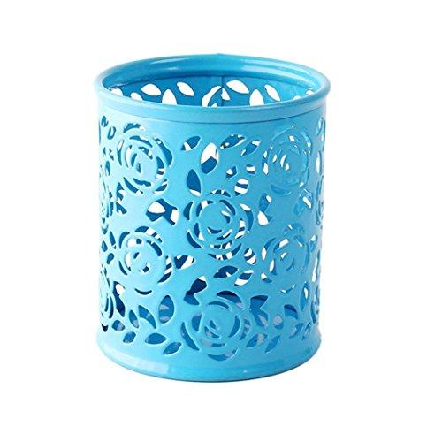 TONSEE Hollow Rose Flower Pattern Metal Pen Pencil Pot Holder Organizer Blue