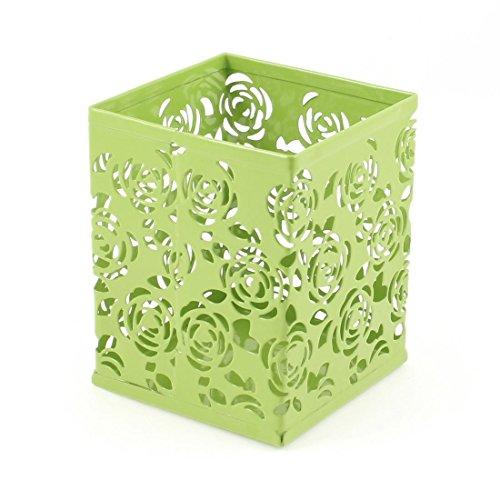 Uxcell Metal Square Hollow Rose Flower Pen Pot Holder Organizer Light Green