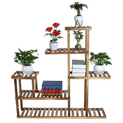 Wooden Flower StandsMulti-Tier Flower Pots Holder Organizer Flower Bonsai Display ShelfMultifunctional Planter Rack Storage Rack Book Shelf High And Low Layer Design488x488x102inch