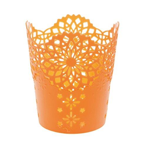 Yeahii Hollow Flower Pattern Pen Pencil Pot Holder OrganizerMulti-Color to Choose From Orange