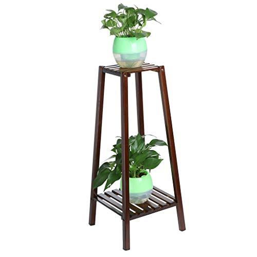 lUKSY US-Direct 2-Tier Multifunctional Plant Stand Flower ShelfBamboo Flower Pots Holder Organizer Flower Display Shelf Planter RackStand ShelfSmall Space Table126x126x295inch