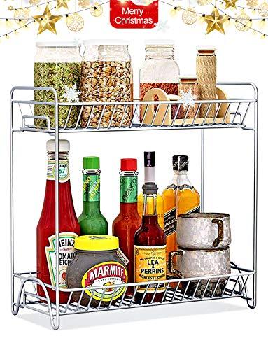 Spice Rack 2 Tier Standing Rack Large Size OOFO Kitchen Bathroom Countertop Storage Organizer Spice Jars Bottle Shelf Holder Rack