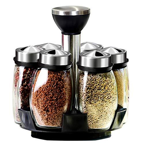 Kitchen Shelf Revolving Spice Rack with 6 Glass Jar Rotating Revolving Spice Rack with Black 7-Piece Set