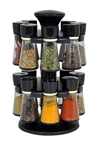 WhopperIndia Revolving 16 Jars Two Tier Rack Organizer Set For Spices Revolving Plastic Spice Storage Rack Jar Condiment Set 8 Oz