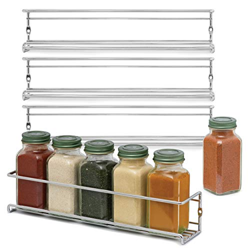 2lbDepot Set of 4 Space Saving Spice Racks - Stylish Chrome Spice Holder for Wall Mounting Kitchen Cabinets or the Pantry - Easy Install Spice Storage for your Kitchen - Spice Storage for Kitchen Org