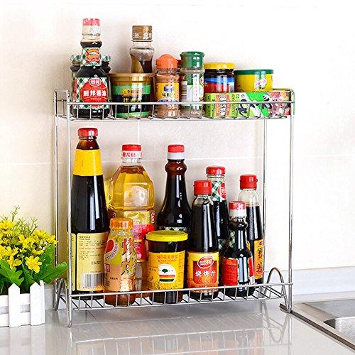2 Tier Freely-Assembling Metal Kitchen Spice Rack Bathroom Storage Shelves Organizer Spice Stand Holder Jars Storage Organizer15Lx6Wx148H Inch