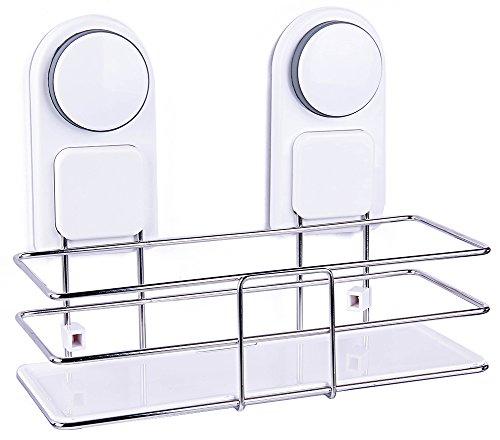 DEKINMAX Bathroom Shelf Shower Basket Storage Shampoo Holder Organizer Kitchen Spice Rack with Suction Cup