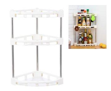 Mehousa 3-Tier Corner Storage Organizer Shelf I Best Kitchen Spice Rack Makeup Cosmetics Counter Organizing Stand Bathroom Organizer with Extra-Sturdy Construction White 3-tier