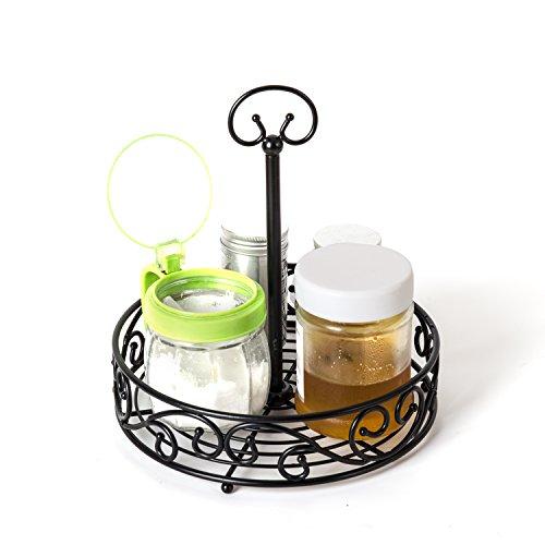 VANRA Spice Rack Kitchen Countertop Spice Stand Fruit Basket Holder Jars Storage Organizer Shelf Rack Metal Wire Fruit Bowl with Handle