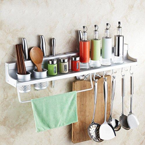 Wall Mounted Kitchen Spice Rack w Utensil  Pot  Pan Hanger Hooks Silverware Caddy Knife Slots 60cm-2 cups