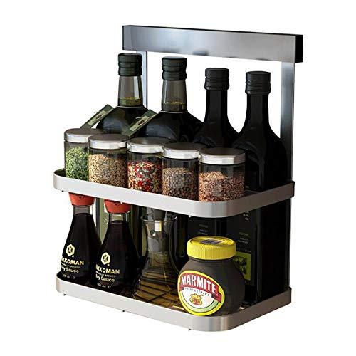 Ctystallove 2-Tier Metal Mesh Spice Rack Wall Mount Jars Bottle Storage Shelf Holder Seasoning Organizer for Kitchen