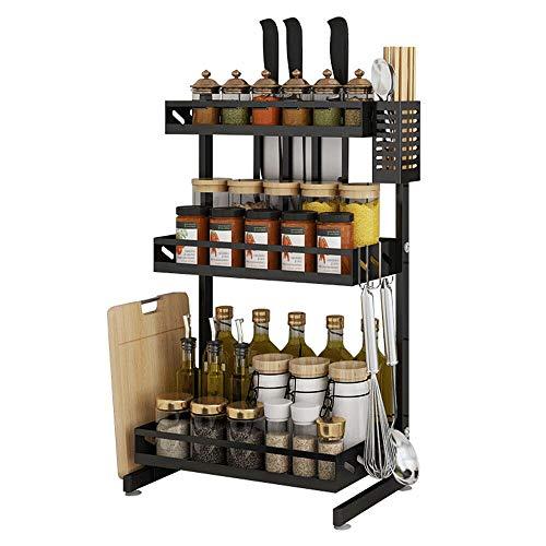 Ctystallove 3 Tier Metal Kitchen Spice Rack Countertop Standing Corner Shelf Removable Seasoning Organizer Jars Bottle Storage Knife Utensils Holder with 3 Hooks Black