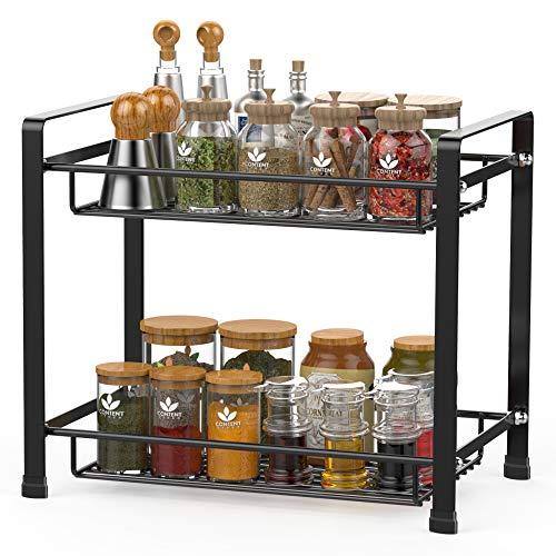 Spice Rack Cambond Spice Organizer Seasoning Organizer Kitchen Bathroom Counter Organizer 2-Tier Standing Rack Black