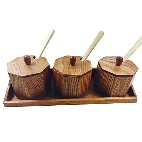 Aquarius CiCi Set of 3 Condiment Jars Wooden Seasoning Jars with3 Jars to Store Sugar or Salt 3 Spoons 1 Base