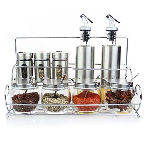 Glass cruetSpice box set soy sauce vinegar pot kitchen supplies seasoning jars-A