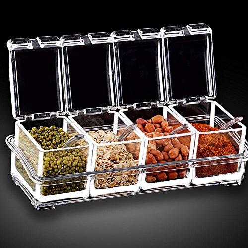 Lautechco4PieceSet Seasoning Jar Set Box Kitchen Condiment Box Acrylic Spices Storage Box Seasoning Boxes