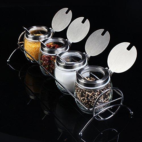 kitchen suppliesGlass apothecary jar-Kit seasoning jars Spice jar set salt shaker with a spoonful of spice box-A