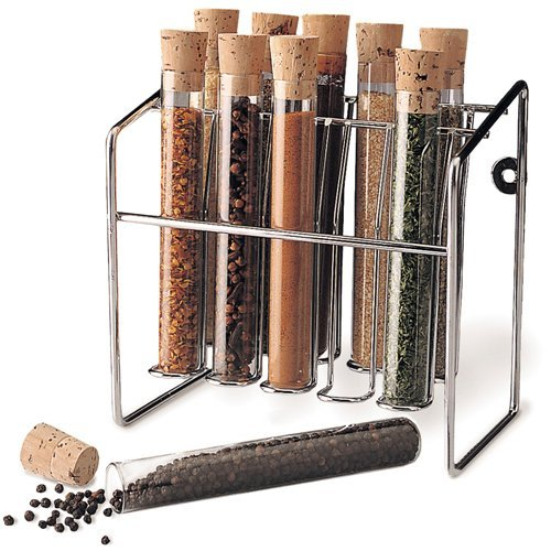 Spice Rack - Glass Spice Tube Set Silver 7h x 7w x 425d