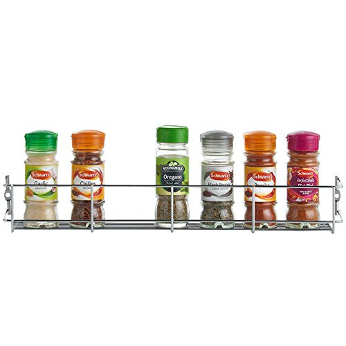 JTW -1Tier Multipurpose Wall Mount Door Spice jar Rack Shelf strong space saving easy to Pike and re-position Metal silver color