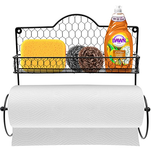 Sorbus Paper Towel Holder Spice Rack and Multi-Purpose Shelf—Wall Mounted Storage for Kitchen Accessories Towels Toiletries Supplies etc—Ideal for KitchenBathroom—Made of Steel Black