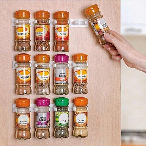Spice wall Rack 4pcsset 20 Cabinet Door hooks Spice wall Rack Storage plastic Kitchen organizer -Pier 27