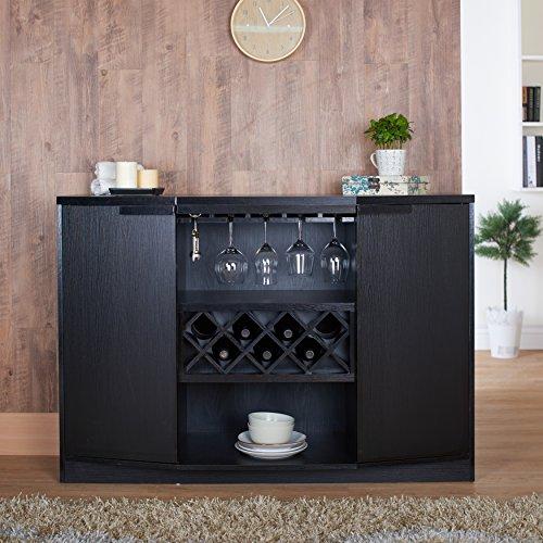 Furniture of America Chapline Modern Wood Wine Bar Buffet with Hanging Glass Racks