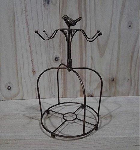 ZZ Wrought iron hanging glass rack storage rack coffee cups tray plate rack  yellow bronze