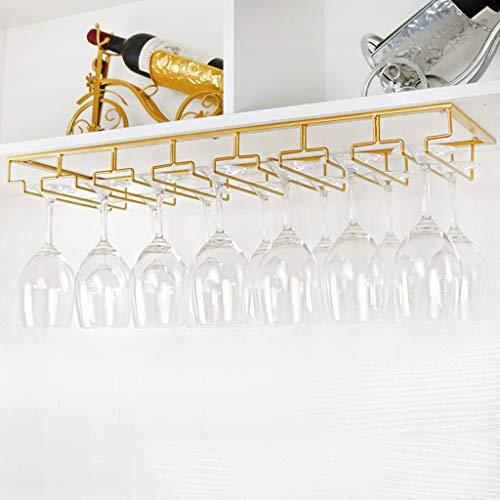 Stemware Racks Under Cabinet Stemware Wine Glass Holder Glasses Storage Hanger Stainless Steel Organizer for Kitchen 7023cm Color  Gold
