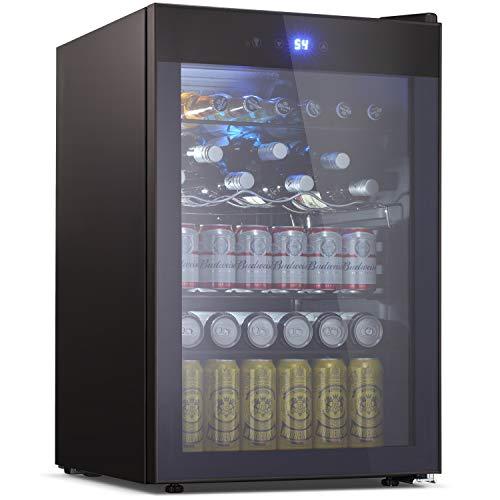 Beverage Refrigerator and Cooler - Drink Fridge with Glass Door for Soda Beer or Wine - Small Beverage Center with 5 Removable Shelves for OfficeMan CaveBasementsHome Bar 45 Cu Ft