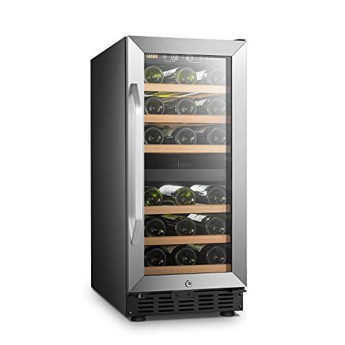 Lanbo 15 Inch Wide Dual Zone Compressor Wine Refrigerator 28 Bottle