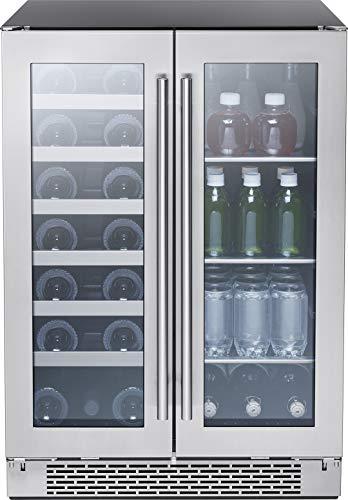 Zephyr Presrv Dual Zone Wine Beverage Cooler with Glass French Door 24 Inch 515 cuft Refrigerator for Under Counter Wine Fridge Beer Fridge Compact Bar Fridge Full-Size Beverage Center