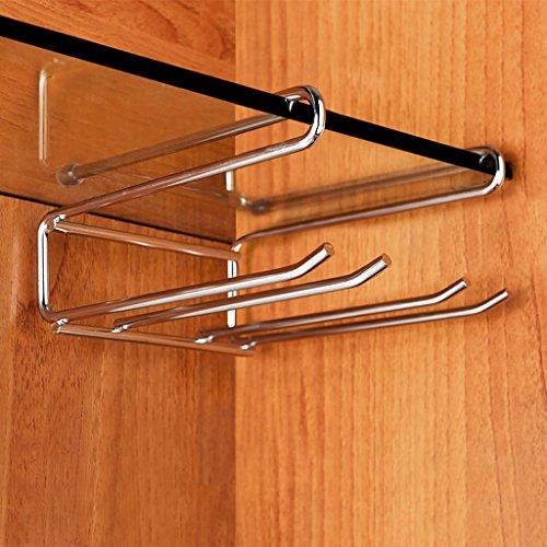Nclon Antirust Stemware racks Do not nail Stainless steel Wine cup rack Upside down hanging cup Wine glass rack-silvery 13248cm