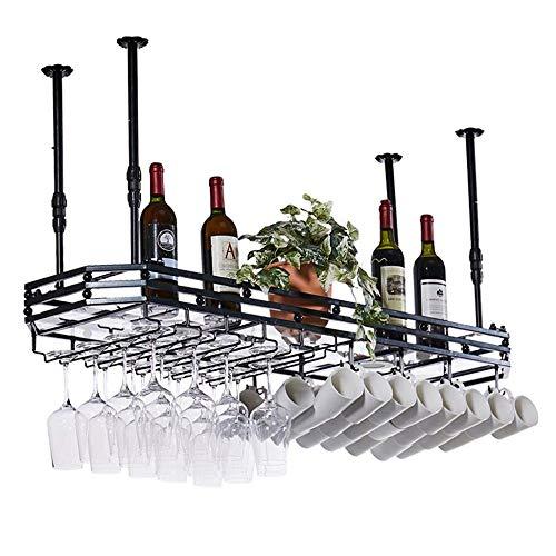 Ceiling Wine Rack Goblet Stemware Racks Metal Goblet Wine Glass Rack Storage Stand Adjustable HeightBlack 15035cm