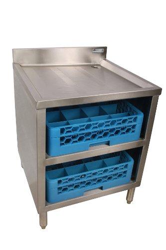 John Boos EUBGRS-24-2 Stainless Steel Underbar Glass Rack Storage Cabinet 24 Length x 21 Width 2 Glass Rack Capacity