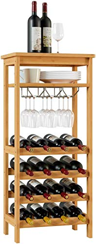 Yxsd Wine Rack 16 Bottle Wine Holder Wine Storage Organiser With 6-9 Glass Holder 4 Tier 4 Tier Wine Holder Free Standing Bamboo 47x29x100cmLWH