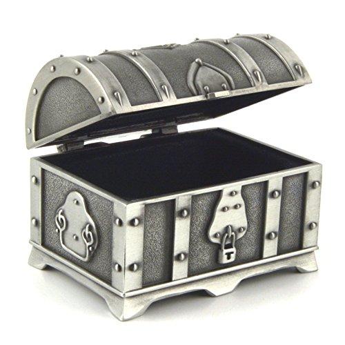 HZMAN Fashion Small Rectangle Antique Silver Metal Treasure Chest Trinket Jewelry Box Gift Box Ring Box
