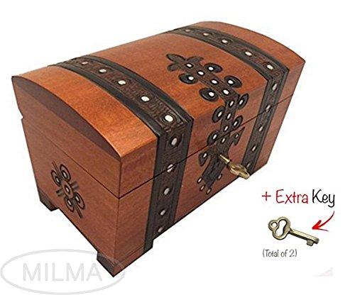 Treasure Chest Box w Lock and Key Polish Linden Wood Handmade Pirate Box Keepsake