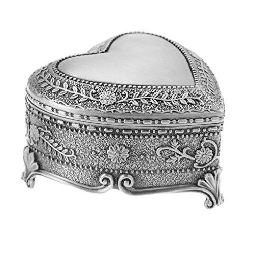 Vintage Antique Silver Chest Box Heart Shape Tin Engraved Jewelry Box Classic Retro Storage Organizer Heart Silver