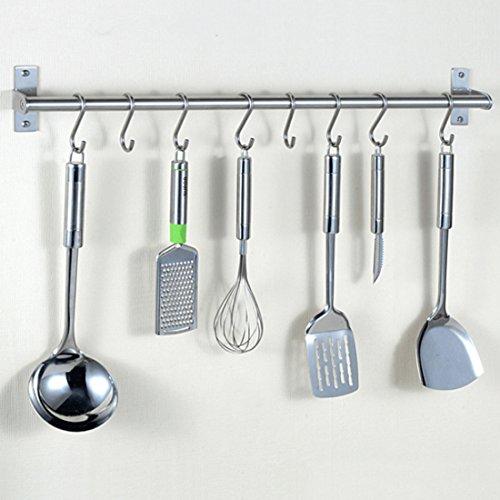 haoun Stainless Steel Kitchen Wall Rail  8 S Hooks Hanger Set Utensil Pot Pan Lid Rack Storage Organizer