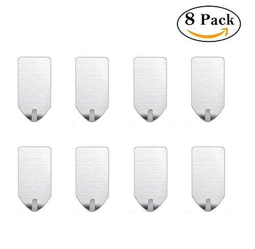 Small Self Adhesive Hooks for Key  Towel  Kitchen Utensil  Belt  Scarf  Necklace Light Duty Stainless Steel Hooks Waterproof Rustproof – 8 PCS Single Hook