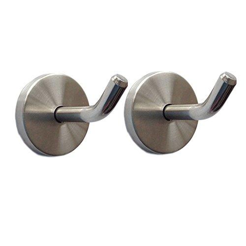 eForwish Stainless Steel Wall Hook Single Holder for Living room Coat Hat Robe hanger Bathroom Towel Kitchen Strong Heavy Duty Garage Storage Organizer Utensil Hook 50mm-2pcs