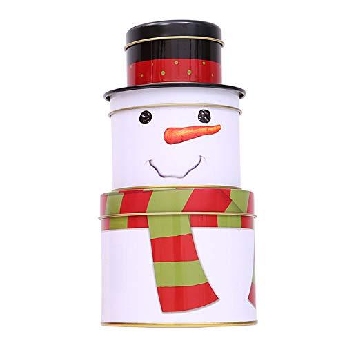 Pcongreat Exquisite 3 Layer Christmas Santa Snowman Pattern Tinplate Candies Biscuits Jar Box Decor Gift - Snowman