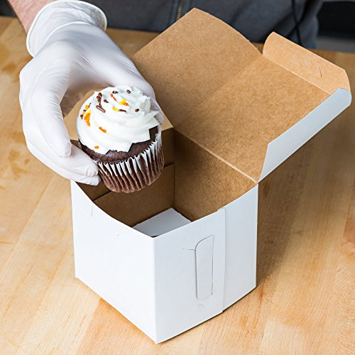 Black Cat Avenue Single Cupcake Box with Insert for Standard Size Cupcake 4 x 4 x 4 10-Pack White