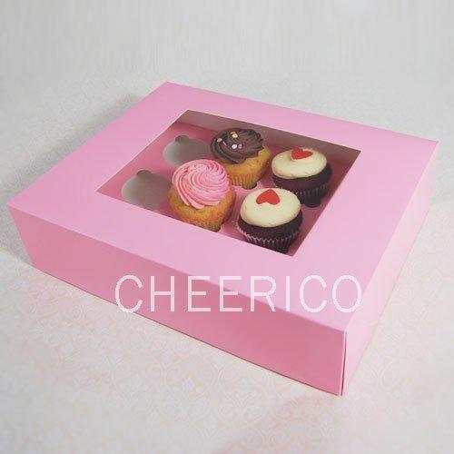 25 Pink Boxes of Window Cupcake Box with 12 Cupcake Holder23 Per Setper Box