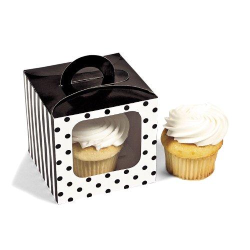 Black Polka Dot Cupcake Boxes 12 pc