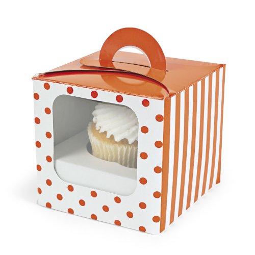 Orange Polka Dot Cupcake Boxes 12 pc