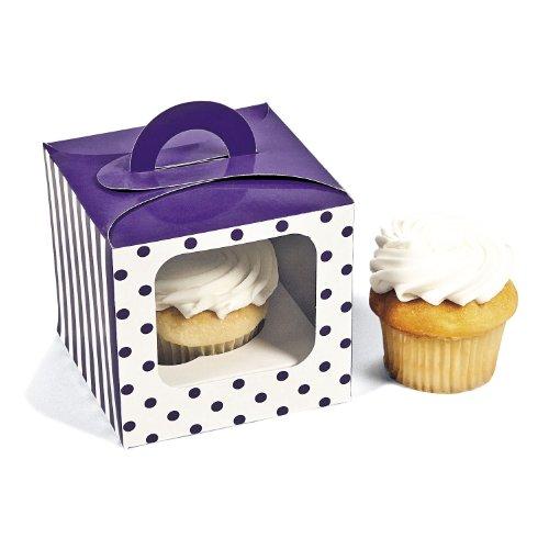 Purple Polka Dot Cupcake Boxes 12 pc