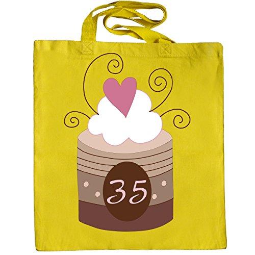 Inktastic 35th Birthday Cupcake Tote Bag Yellow